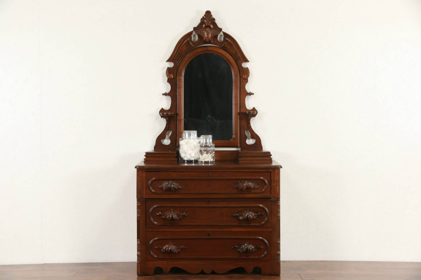Sold - Victorian 1870 Antique Walnut Chest Or Dresser Jewel Boxes regarding Antique Victorian Mirrors (Image 13 of 15)