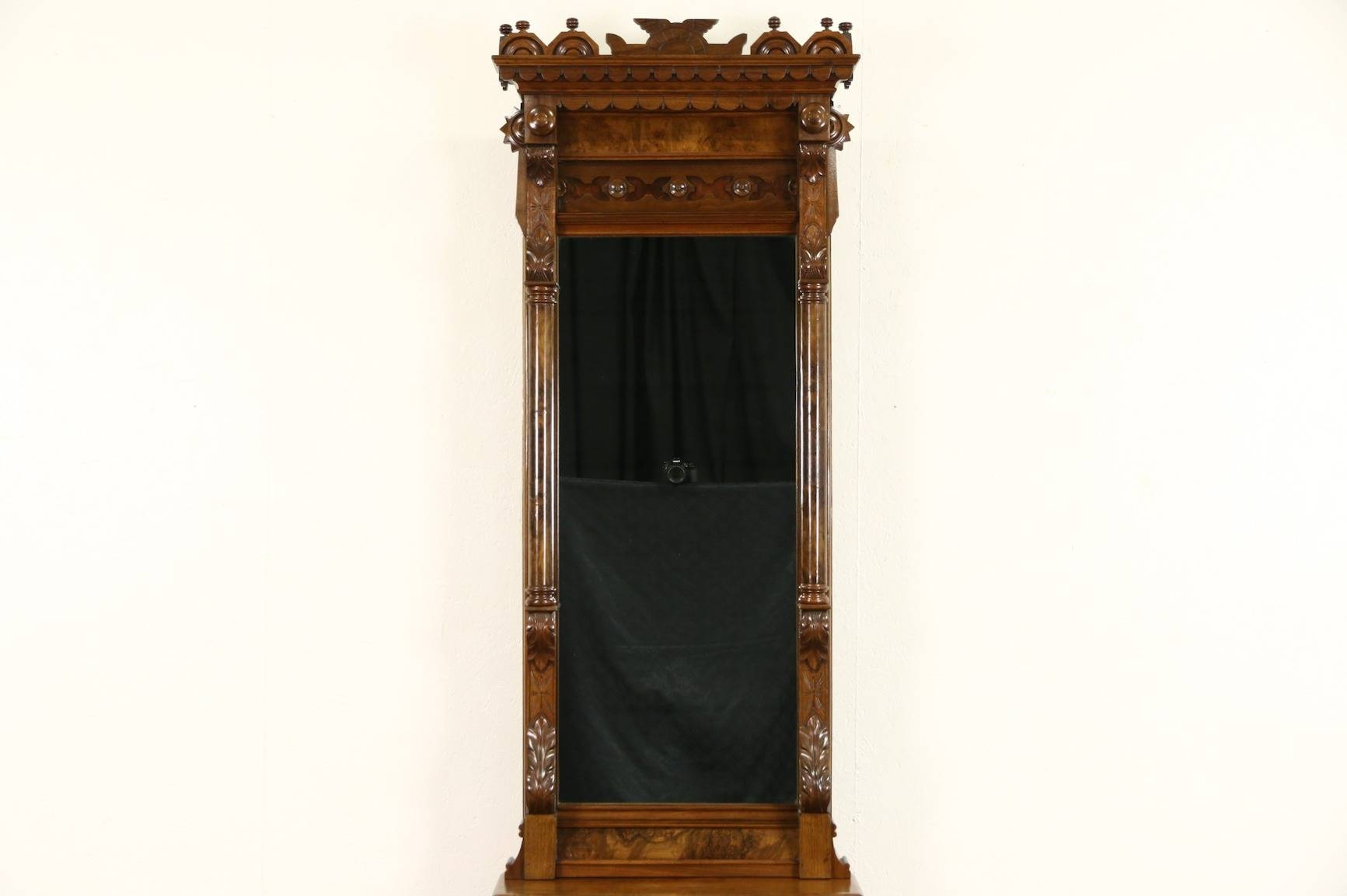 Sold - Victorian 1880's Antique Carved Walnut & Cherry Hall Pier inside Antique Victorian Mirrors (Image 14 of 15)