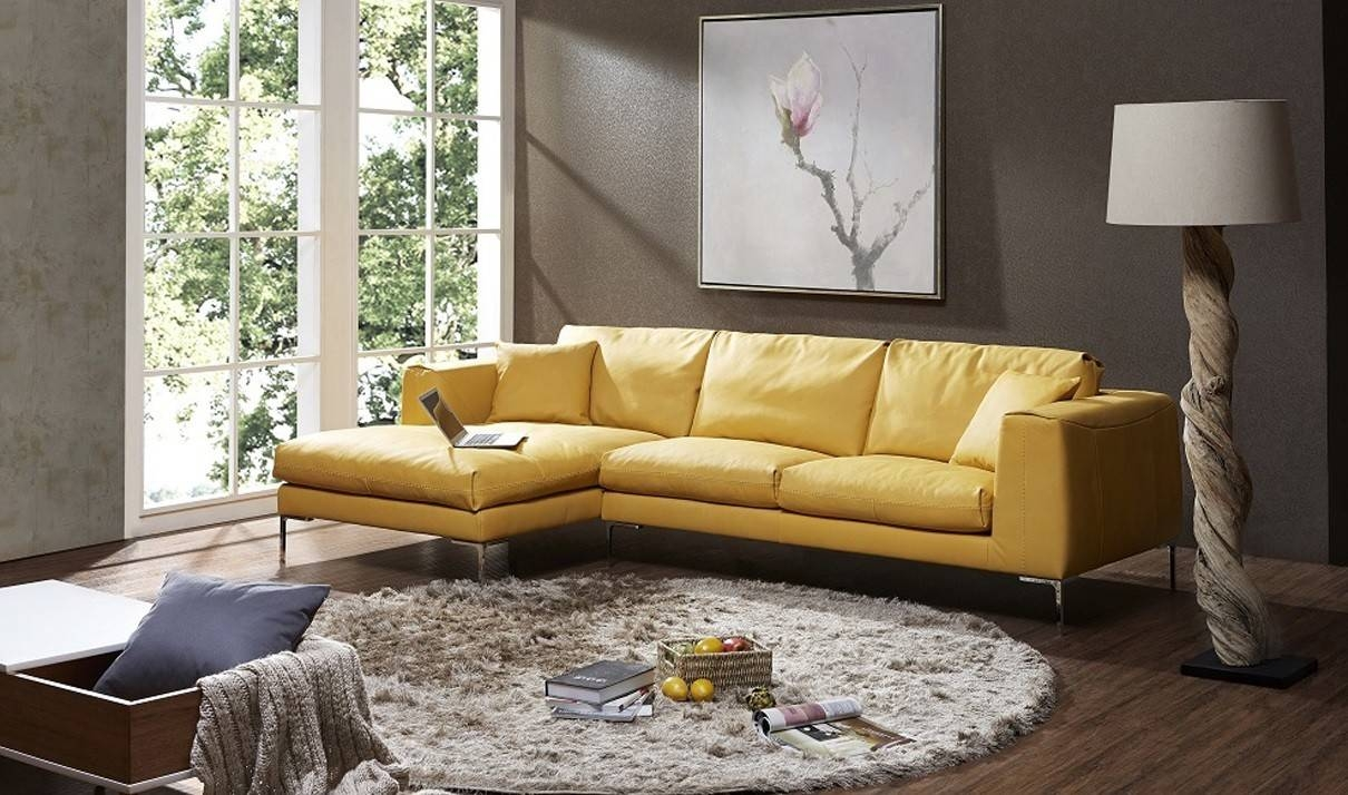 Soleil Premium Leather Sectional Sofa In Yellow | Free Shipping With Regard To Yellow Sectional Sofas (View 4 of 15)