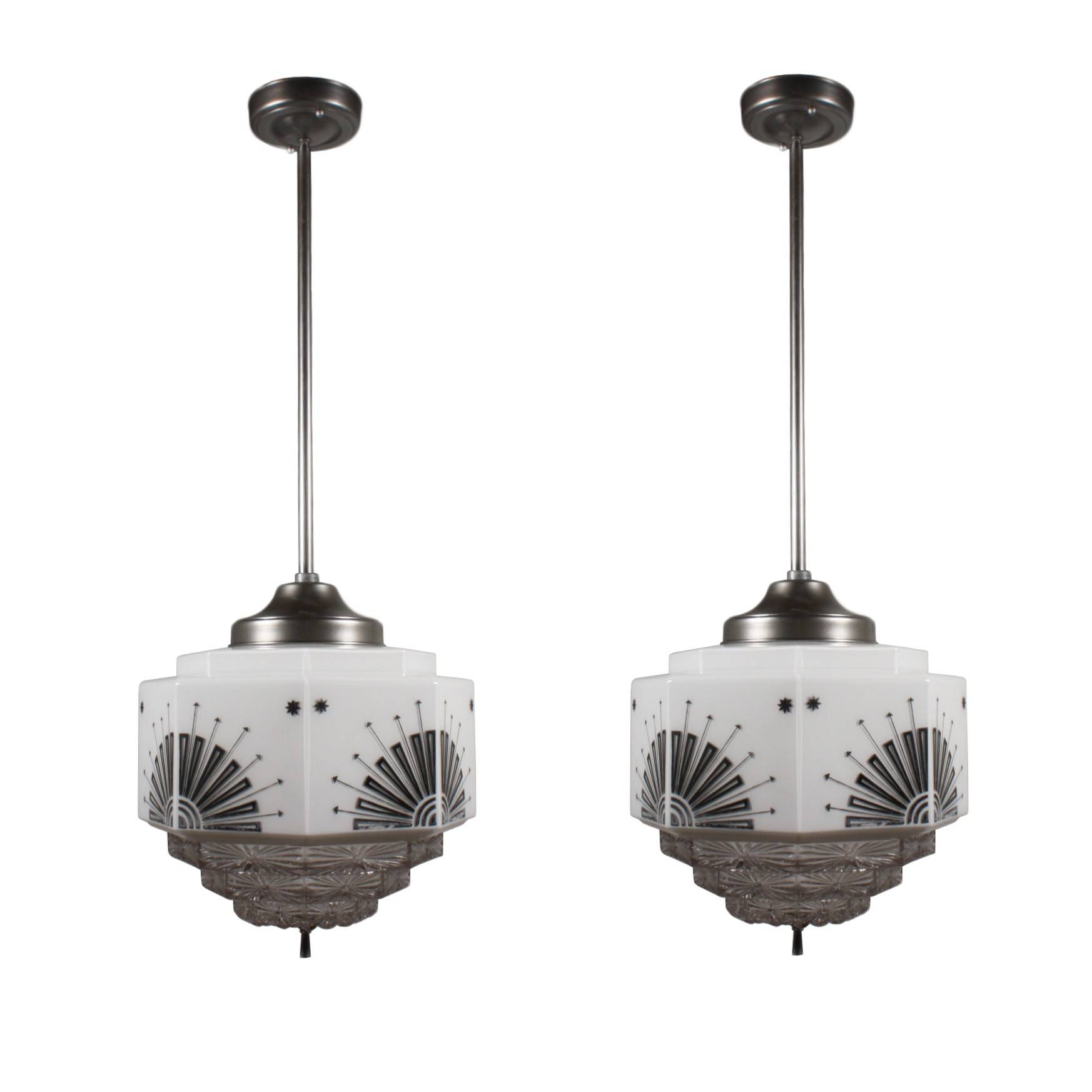 Splendid Antique Art Deco Skyscraper Pendant Lights, Fostoria for Art Nouveau Pendant Lights (Image 14 of 15)