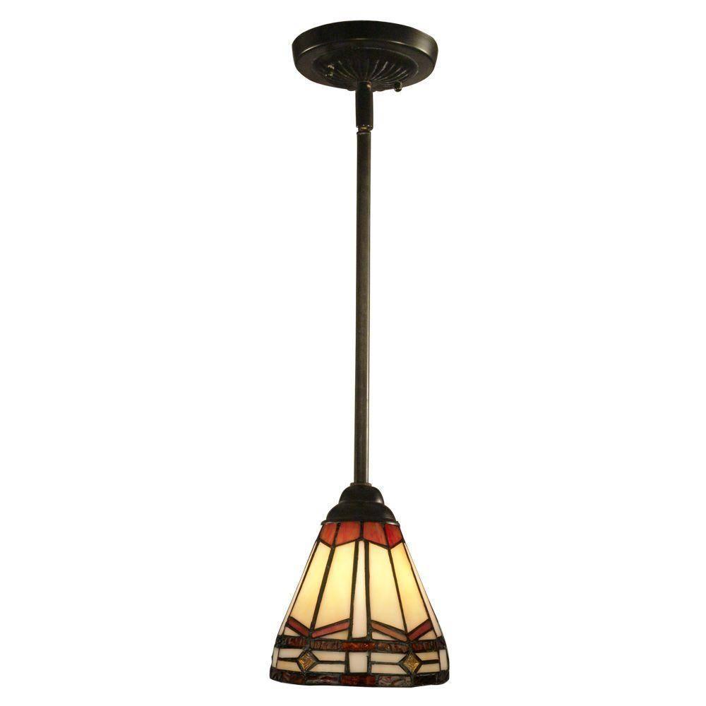 Springdale Lighting Jewel Mission 1-Light Antique Bronze Hanging in Tiffany Mini Pendant Lights (Image 12 of 15)