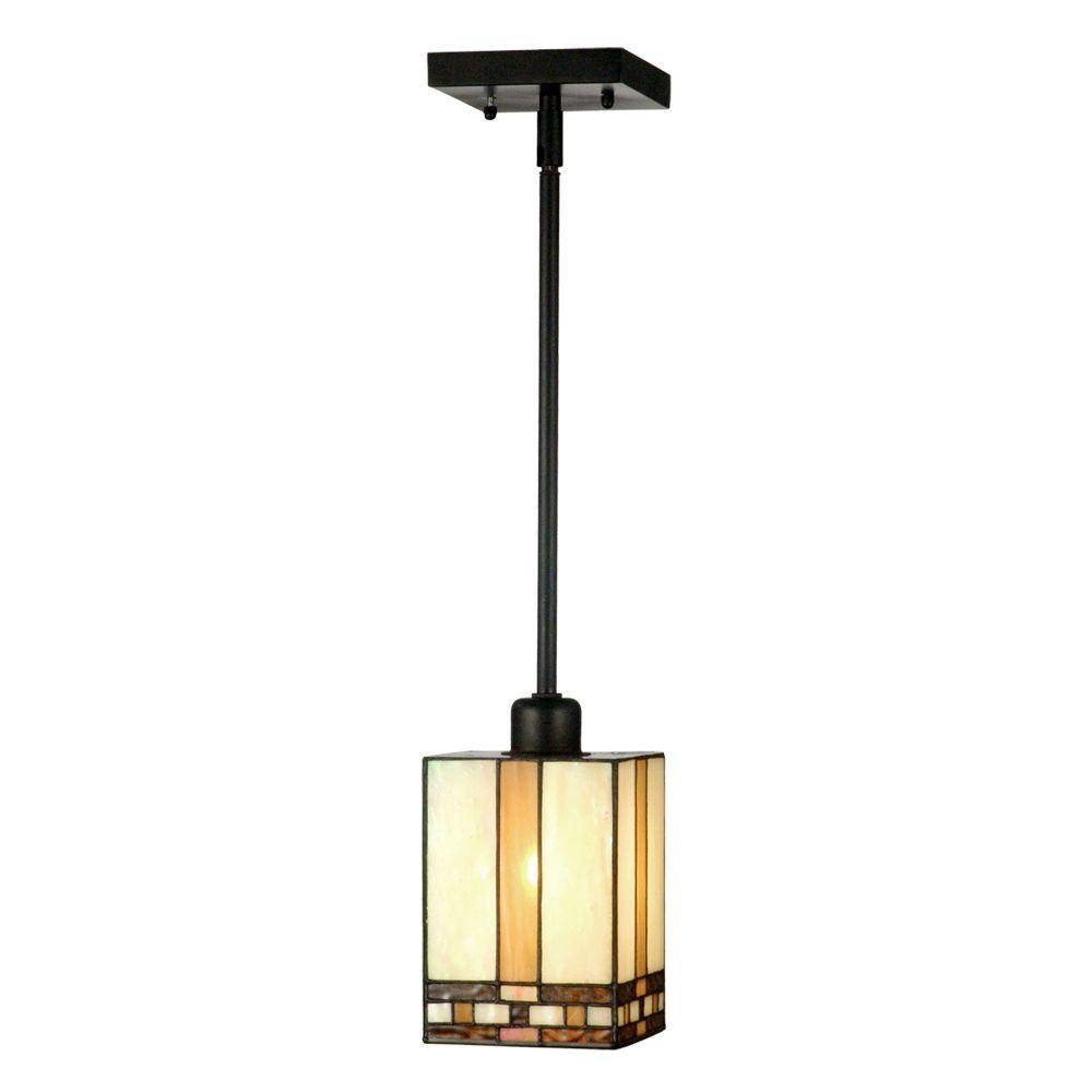 Springdale Lighting Mission 1-Light Antique Bronze Hanging Mini in Tiffany Mini Pendant Lights (Image 13 of 15)