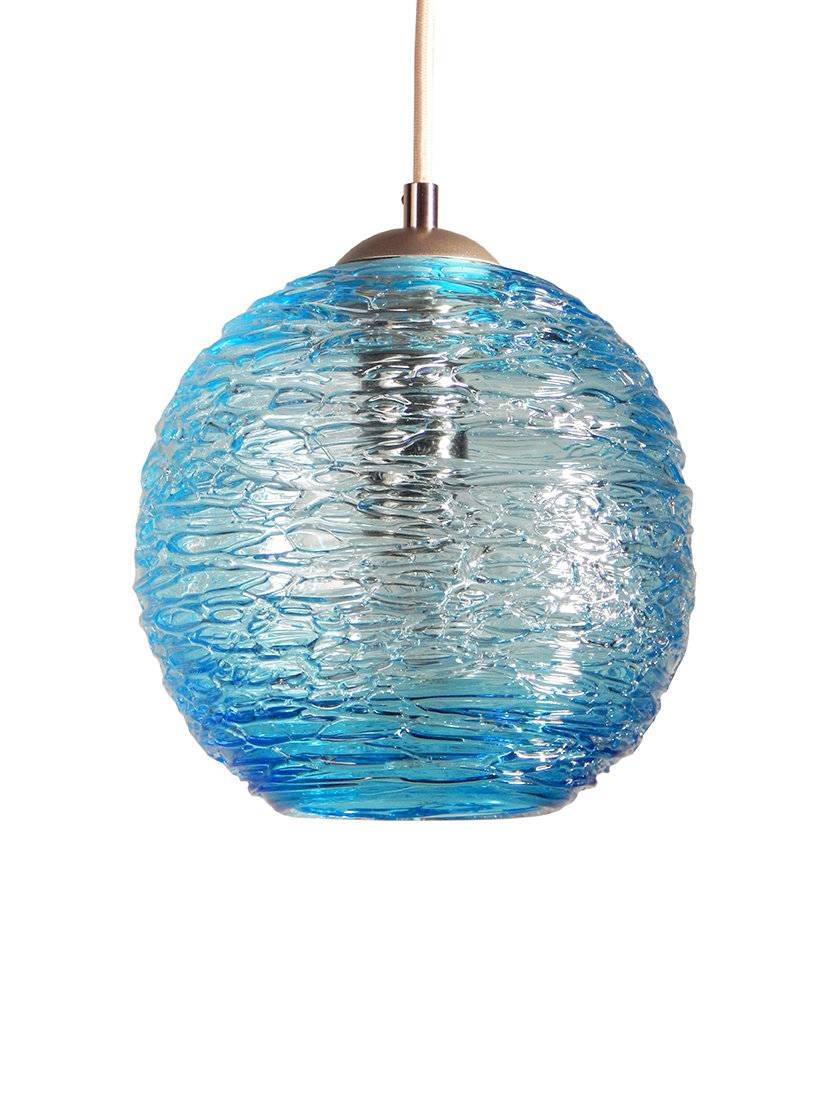 Spun Glass Globe Pendant Light In Aquarebecca Zhukov (Art inside Aqua Pendant Lights (Image 14 of 15)