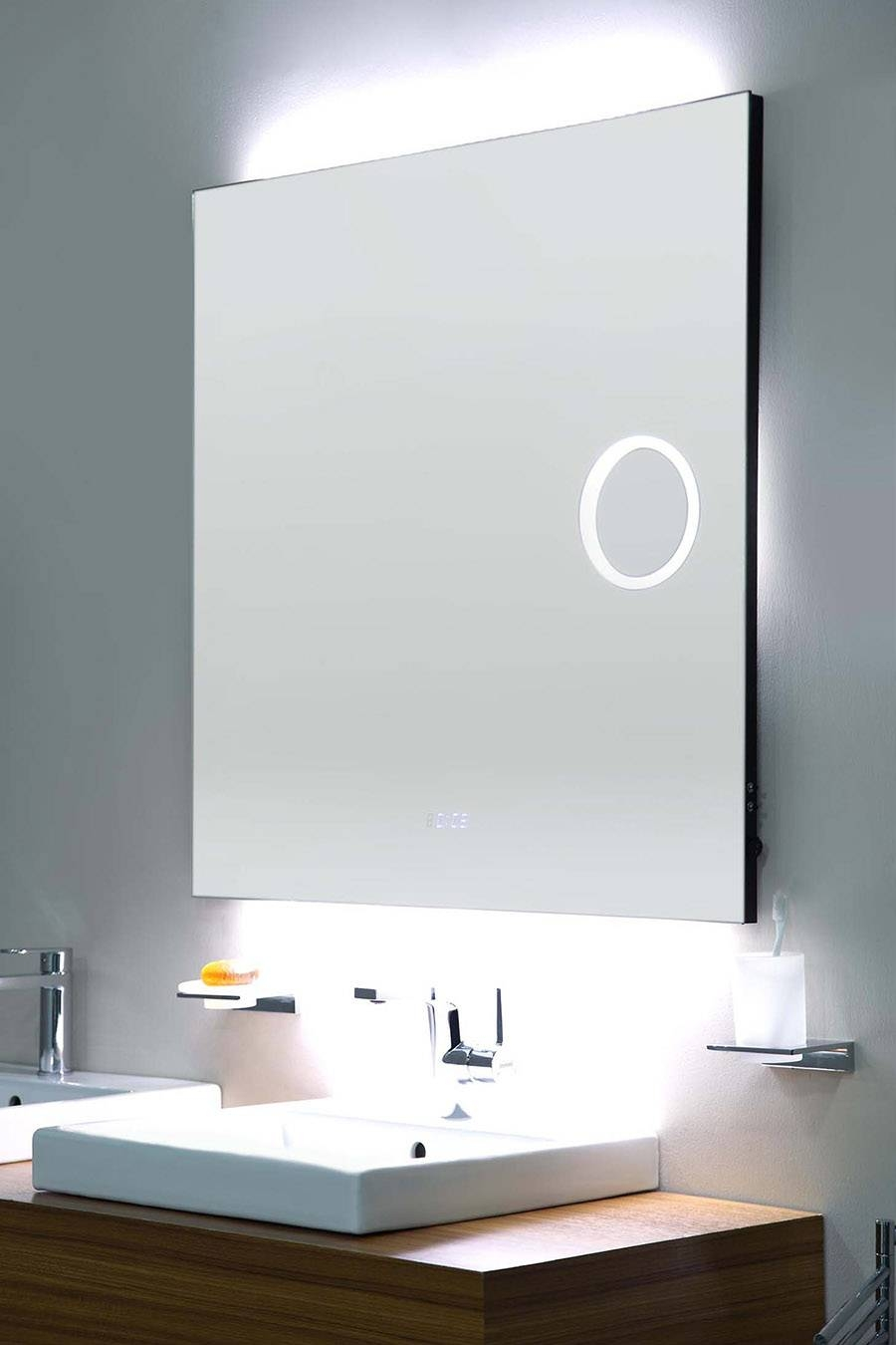 Square Frameless Mirror With Led,magnifier, Digital Clock Bathroom In Square Frameless Mirrors (View 14 of 15)