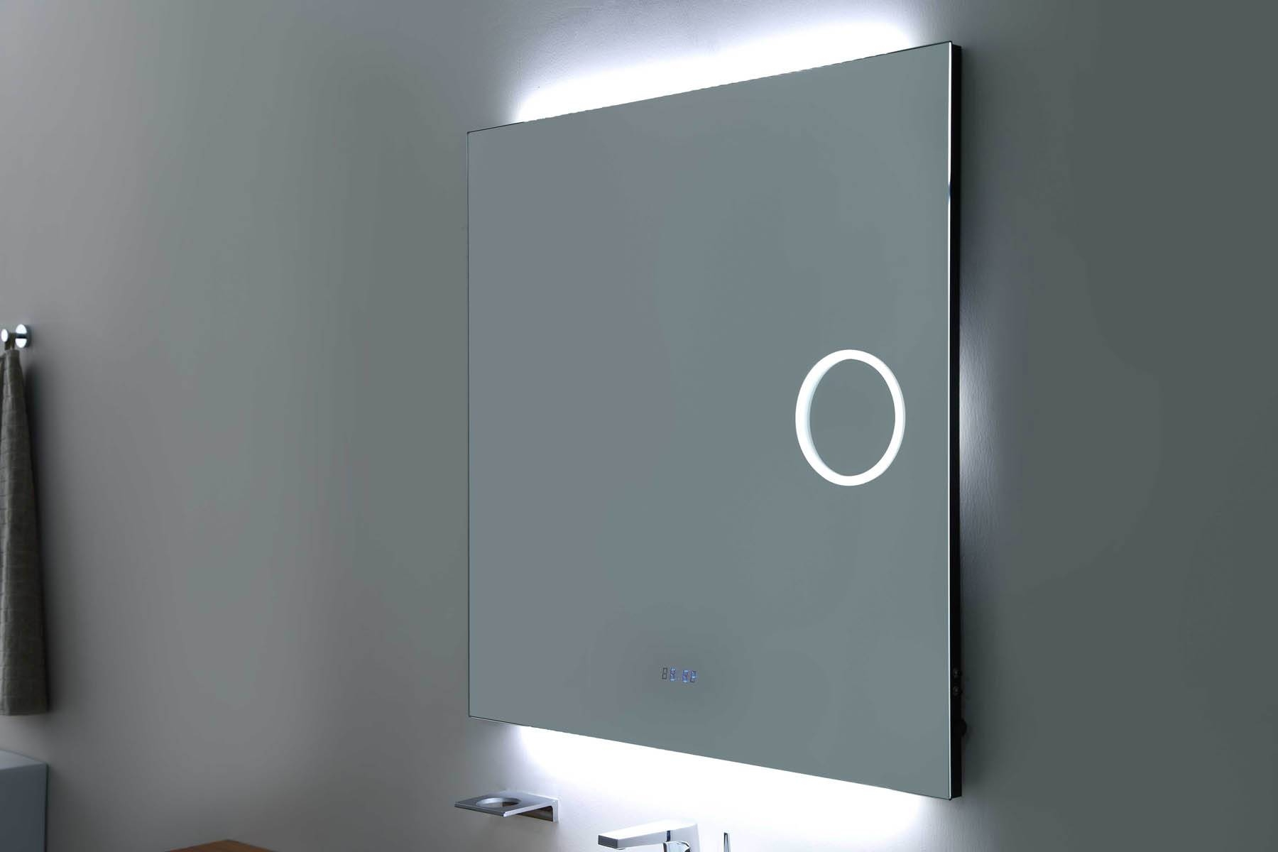 Square Frameless Mirror With Led,magnifier, Digital Clock Bathroom With Square Frameless Mirrors (View 15 of 15)