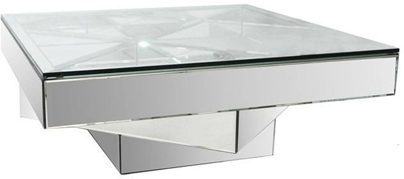 Square Mirror Glass Coffee Table The Designer Rooms Mirage throughout Mirror Glass Coffee Table (Image 12 of 15)