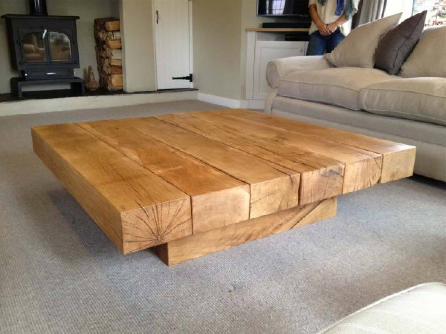 Square Oak Coffee Table Project #59 | Abacus Tables with Large Square Oak Coffee Tables (Image 15 of 15)