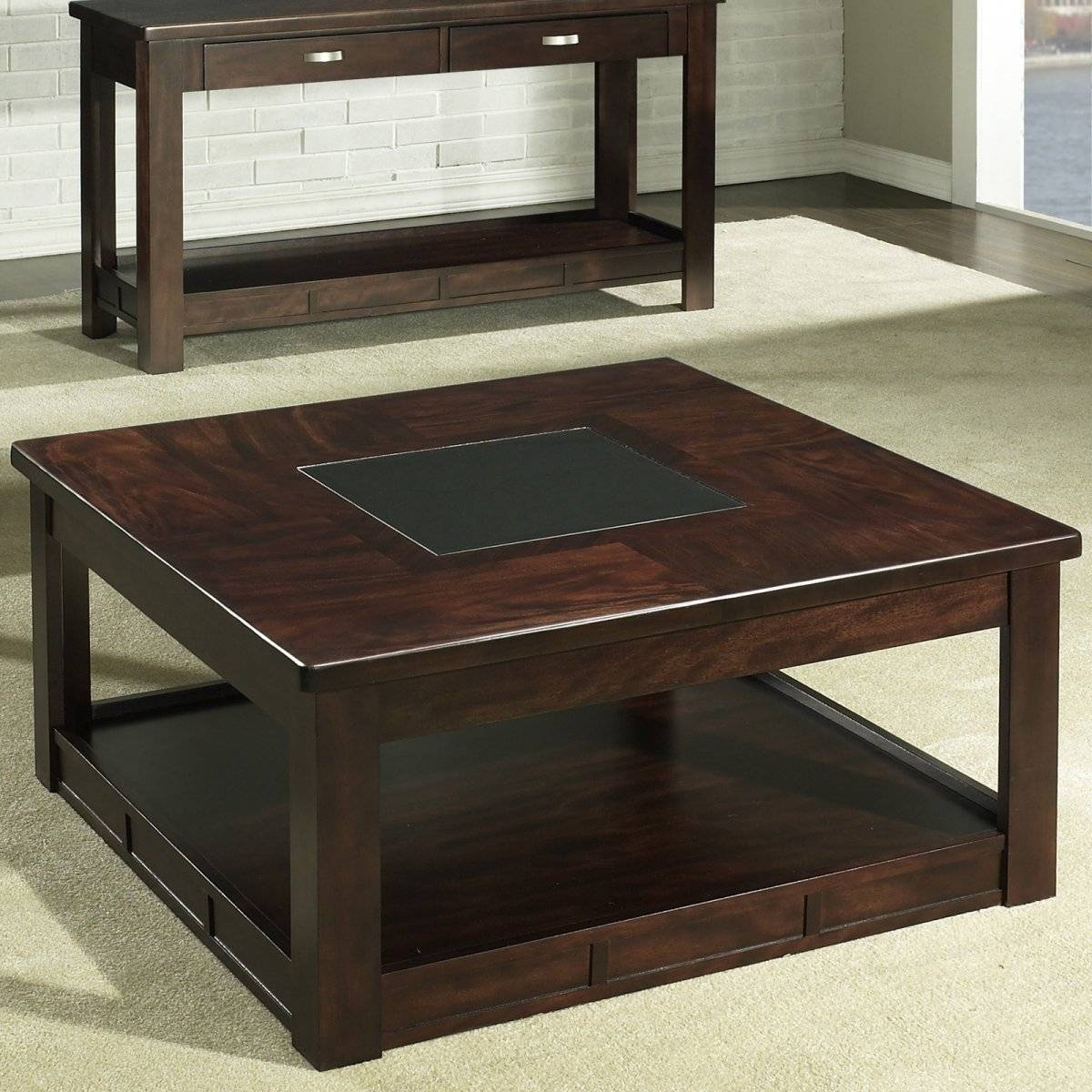 Square Wood Coffee Table With Drawers And Glass Top In Square Coffee Table With Storage Drawers (View 11 of 15)