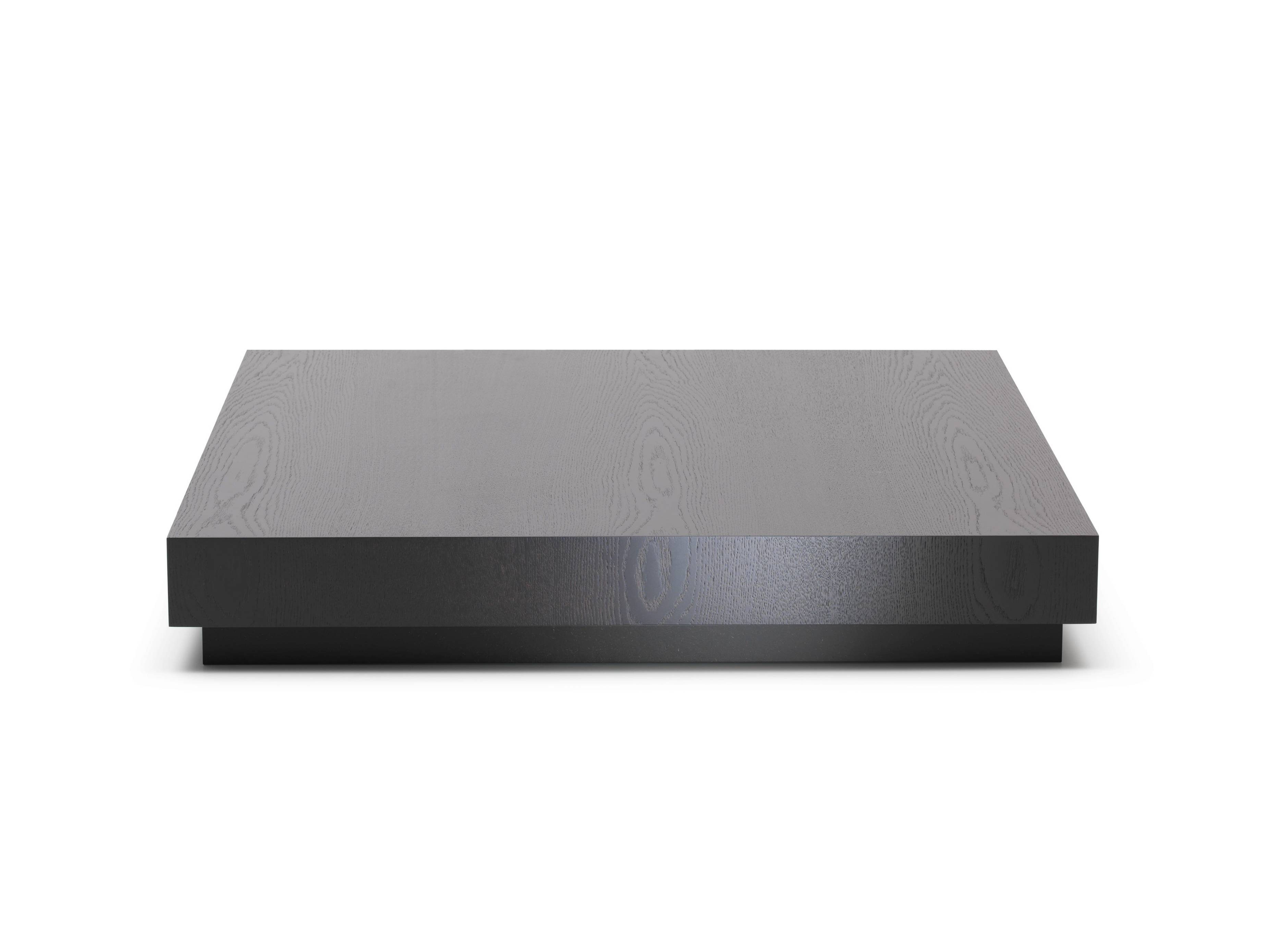 Square Wood Low Profile Coffee Table Painted With Black Color For regarding Low Wooden Coffee Tables (Image 15 of 15)