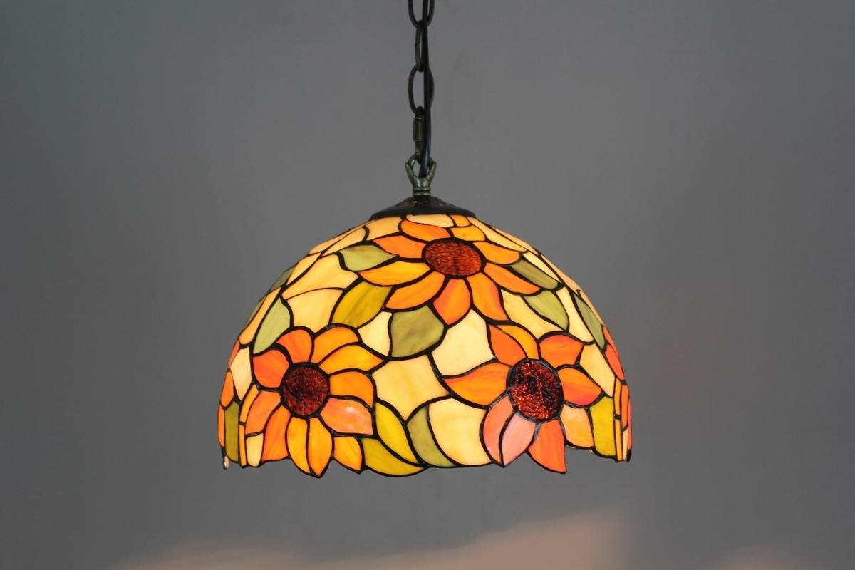Stained Glass Sunflowers Pattern Tiffany Style Pendant Lamp pertaining to Stained Glass Lamps Pendant Lights (Image 11 of 15)