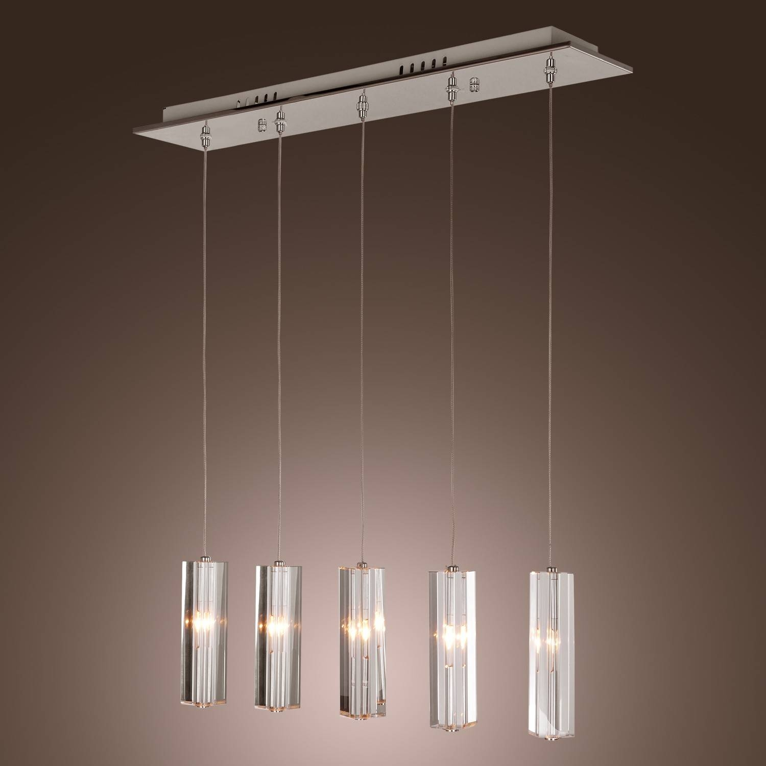 Stainless Steel 5-Light Mini Bar Pendant Light With K9 Crystal regarding Stainless Steel Pendant Lights Fixtures (Image 9 of 15)