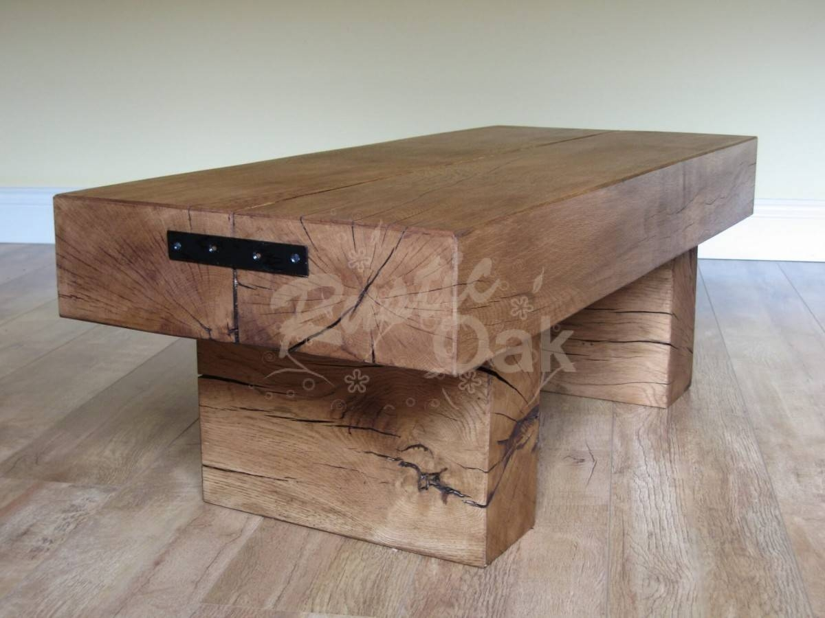 Standard 2 Beam Coffee Table - Rustic Oak for Oak Beam Coffee Tables (Image 15 of 15)
