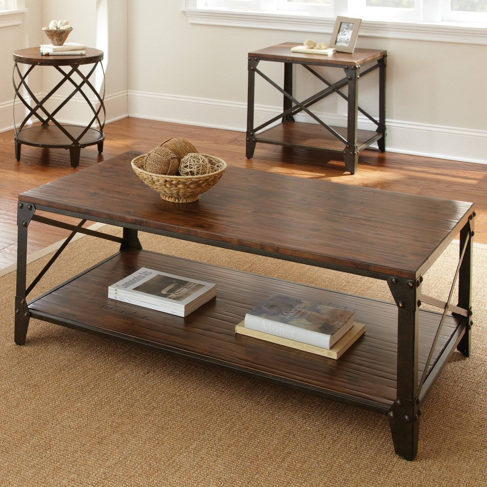 Steve Silver Winston Rectangle Distressed Tobacco Wood And Metal inside Wood And Steel Coffee Table (Image 12 of 15)