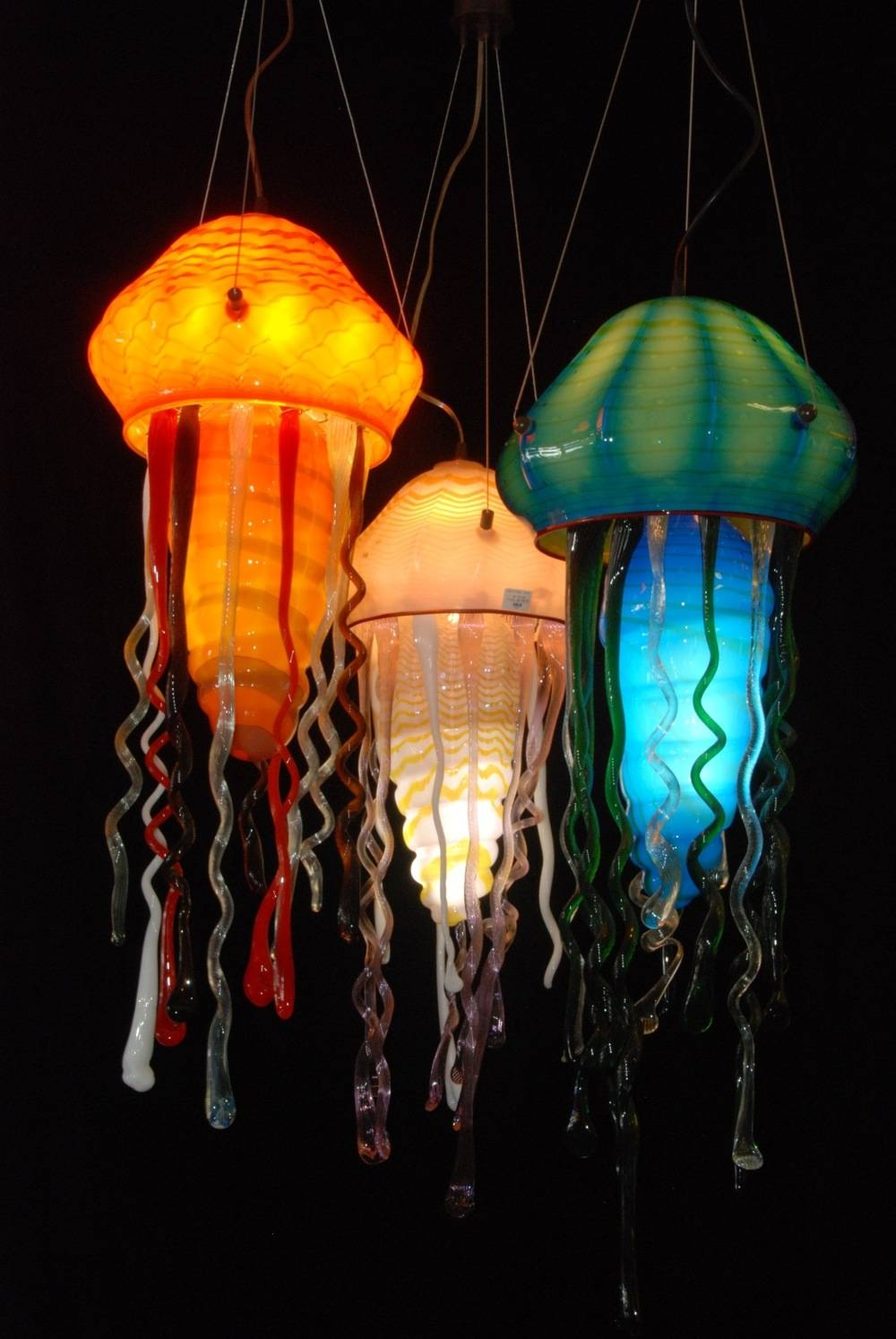Striniartglasscustomlightingstriniartglasscustomlightingglass in Jellyfish Pendant Lights (Image 12 of 15)