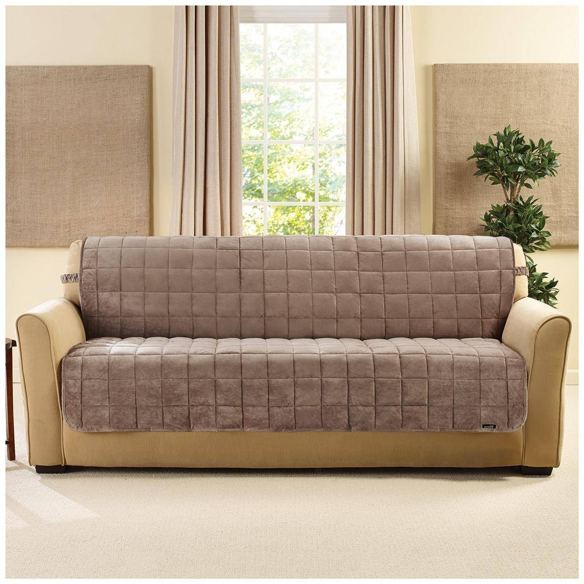Sure Fit® Quilted Velvet Furniture Friend Armless Sofa Slipcover with regard to Armless Couch Slipcovers (Image 15 of 15)