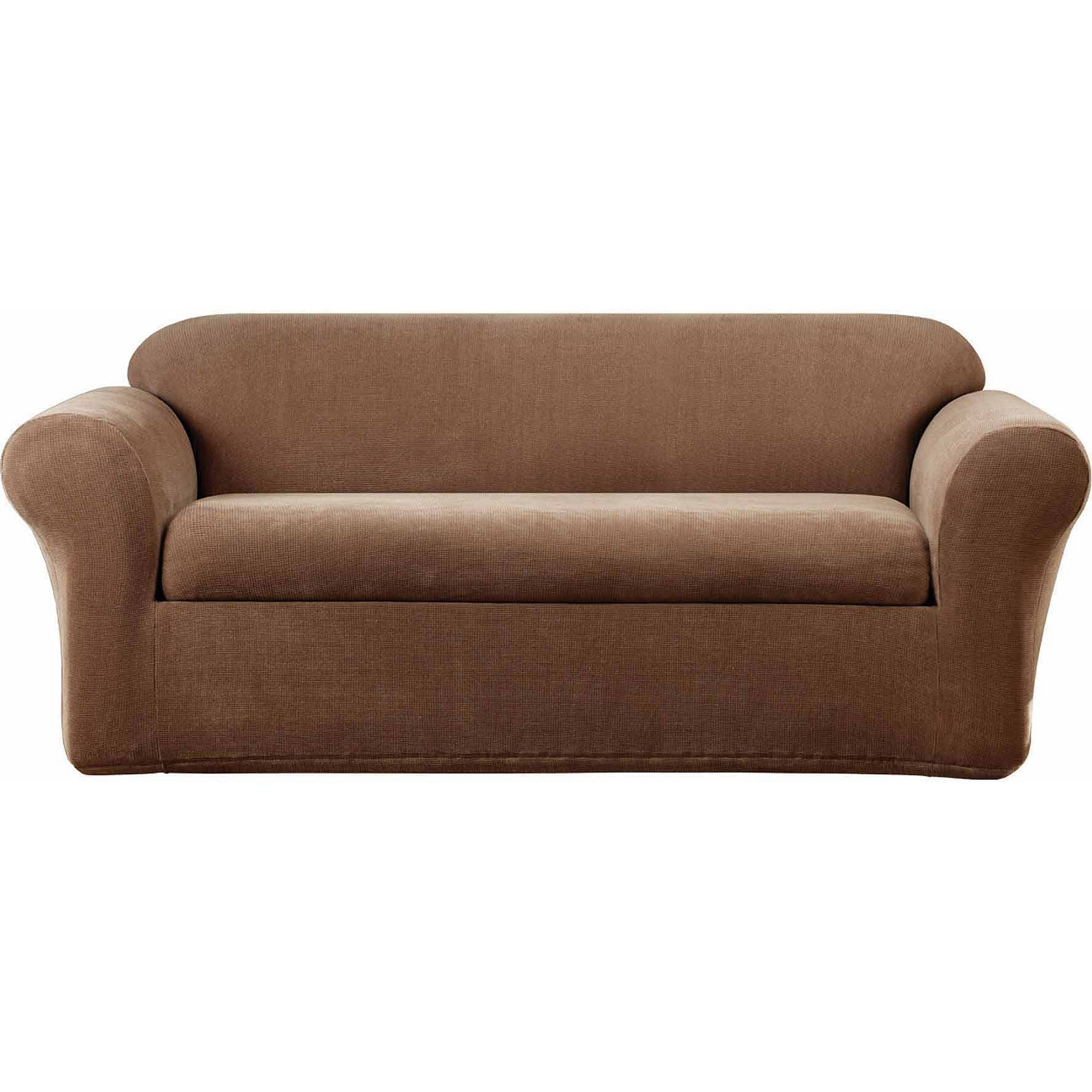 Sure Fit Stretch Metro Separate Seat Sofa Slipcover - Walmart within Loveseat Slipcovers 3 Pieces (Image 10 of 15)