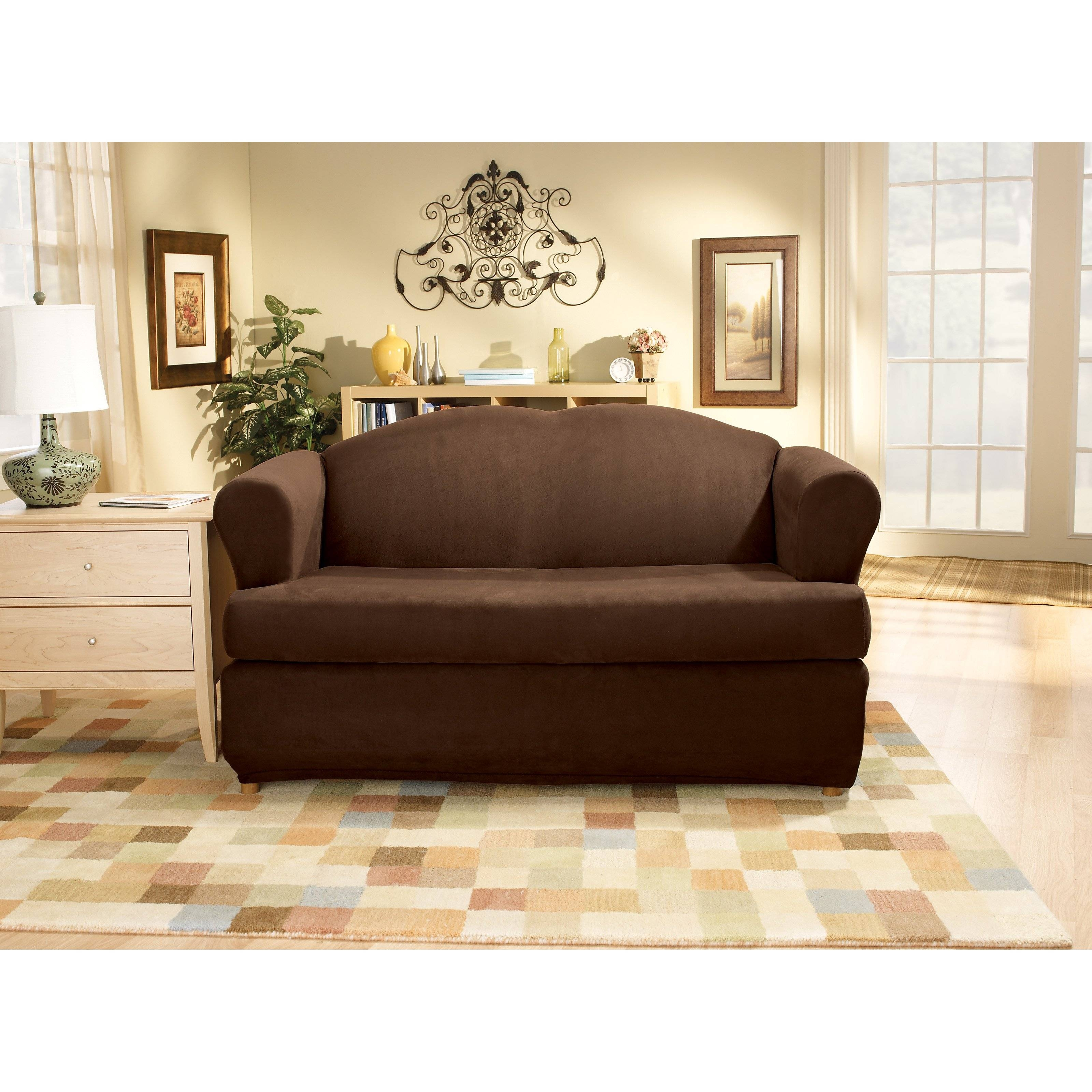 Sure Fit Stretch Pinstripe T-Cushion Two Piece Loveseat Slipcover in Loveseat Slipcovers 3 Pieces (Image 11 of 15)