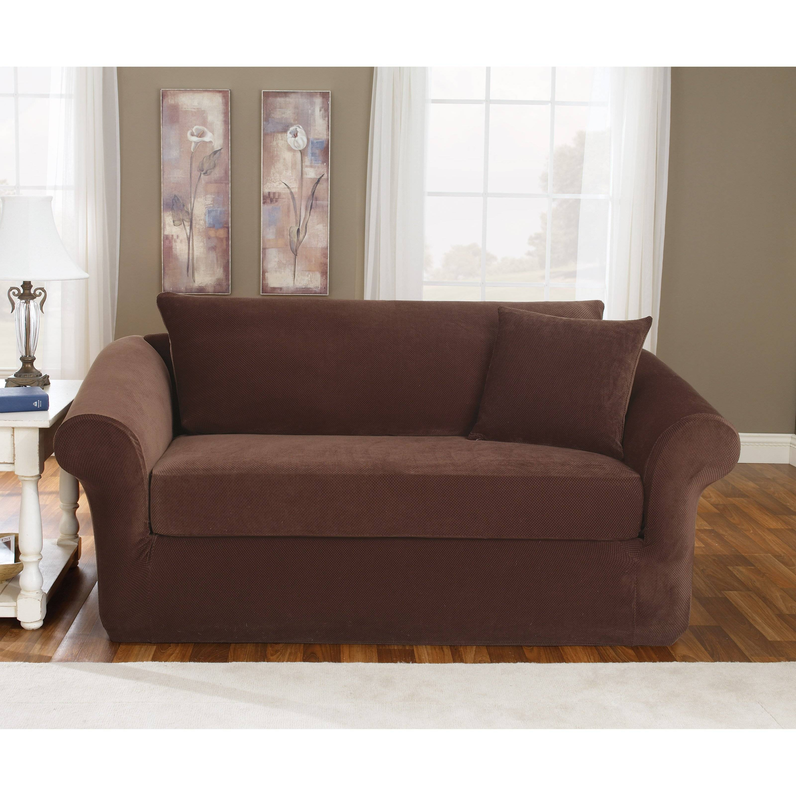 Sure Fit Stretch Pique Three Piece Loveseat Slipcover | Hayneedle inside Loveseat Slipcovers 3 Pieces (Image 12 of 15)