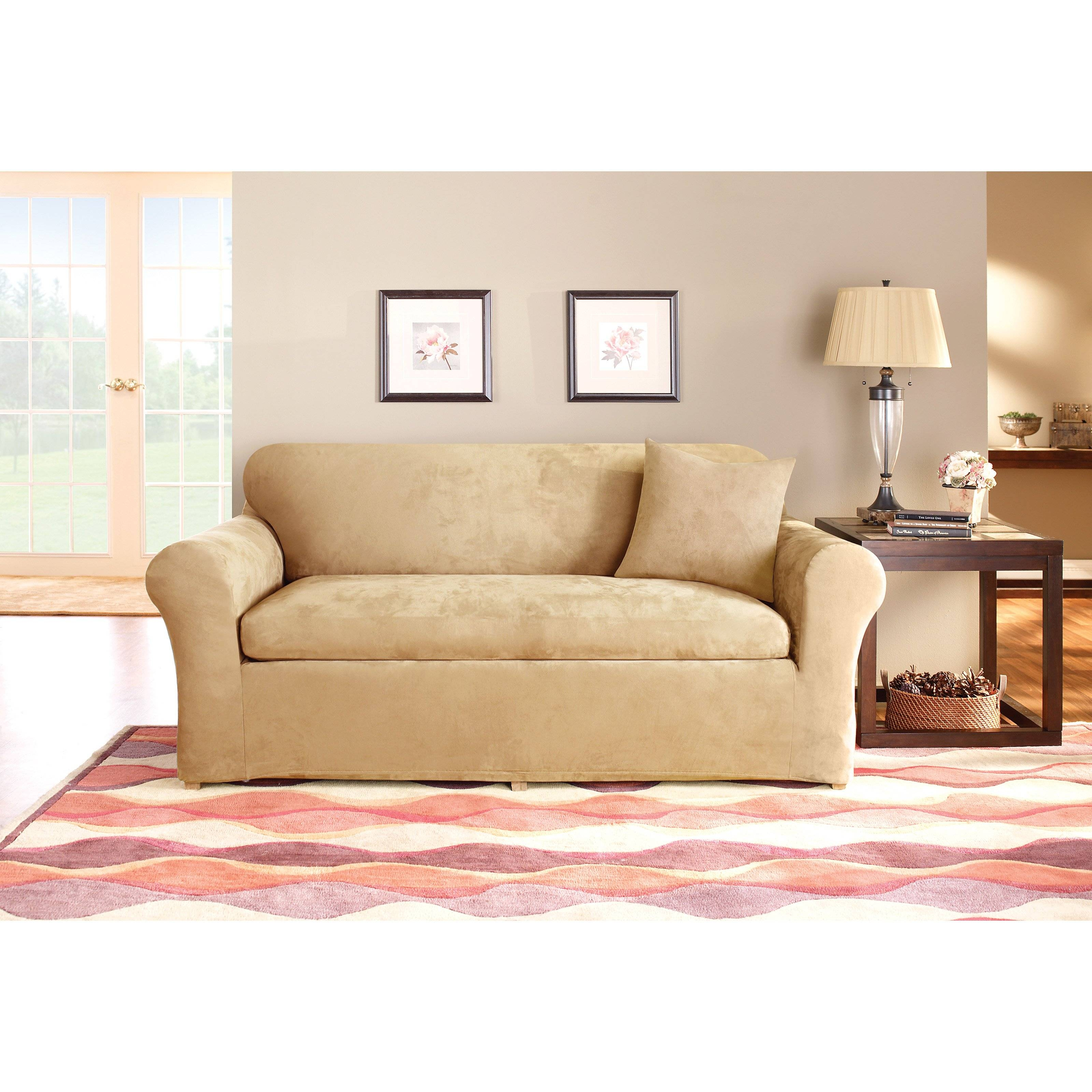 Sure Fit Stretch Suede 3-Piece Loveseat Slipcover - Walmart within Loveseat Slipcovers 3 Pieces (Image 13 of 15)