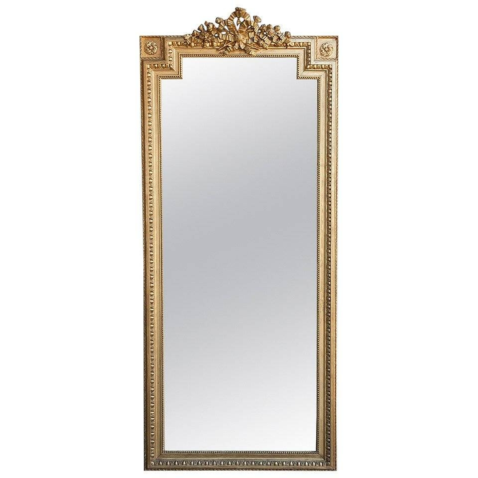 Tall Gold Louis Xvi Giltwood Full-Length Mirror With Crown Of inside Gold Full Length Mirrors (Image 15 of 15)