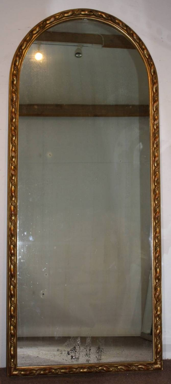 Tall, Narrow Antique Arched Mirror With Ropet within Tall Narrow Mirrors (Image 12 of 15)