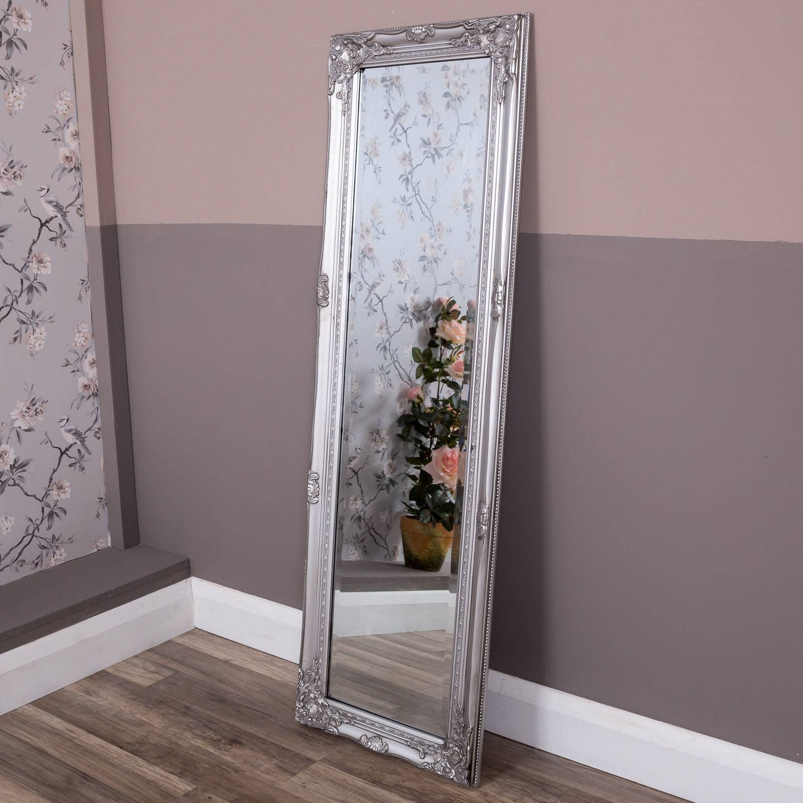 Tall Slim Silver Wall Mirror Shabby Vintage Chic French Ornate for Silver Full Length Mirrors (Image 14 of 15)
