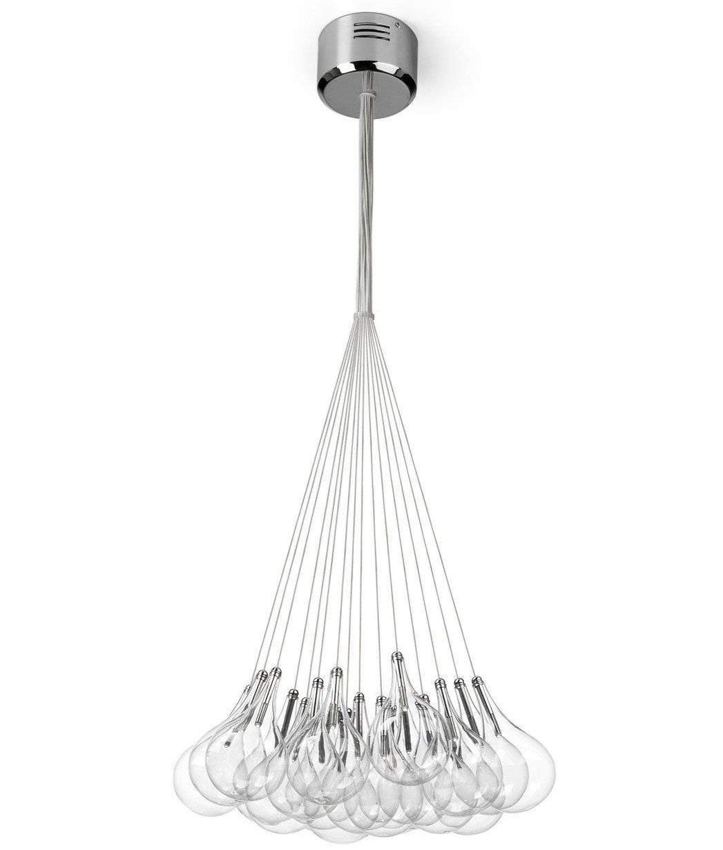 Teardrop Cluster Hanging Pendant With 19 Or 37 Glass Shades With Regard To Cluster Glass Pendant Light Fixtures (View 13 of 15)