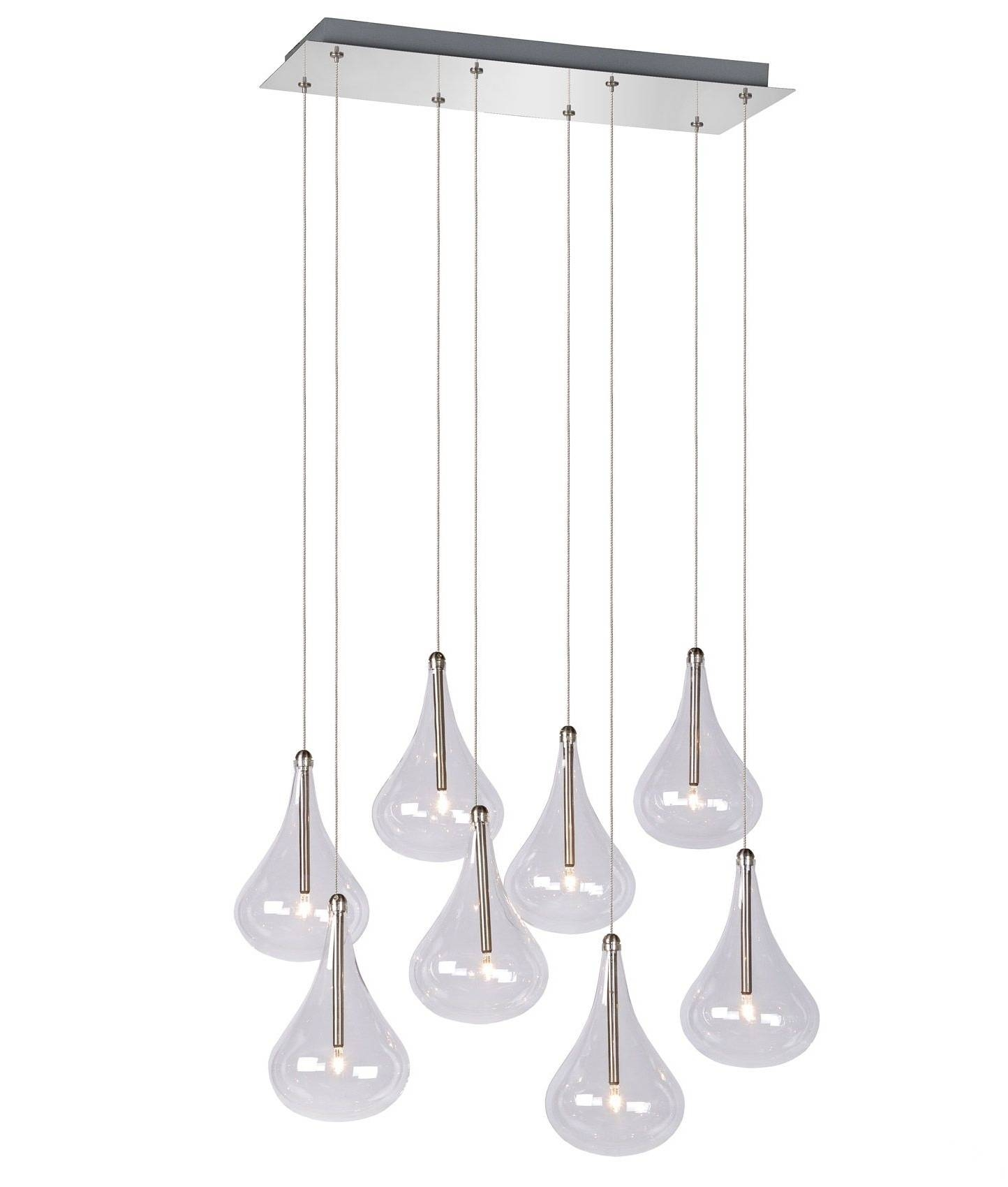 Teardrop Glass 8 Light Square Plate Cluster Pendant Throughout Cluster Glass Pendant Light Fixtures (View 14 of 15)