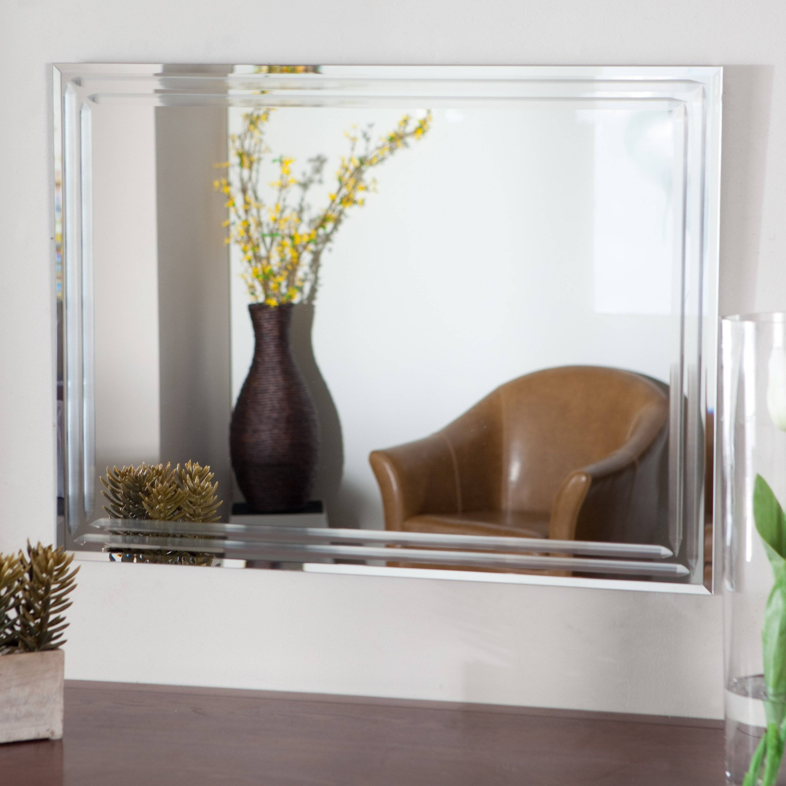 Tekema Rectangle Frameless Wall Mirror - 42W X 30H In. | Hayneedle throughout Frameless Wall Mirrors (Image 14 of 15)