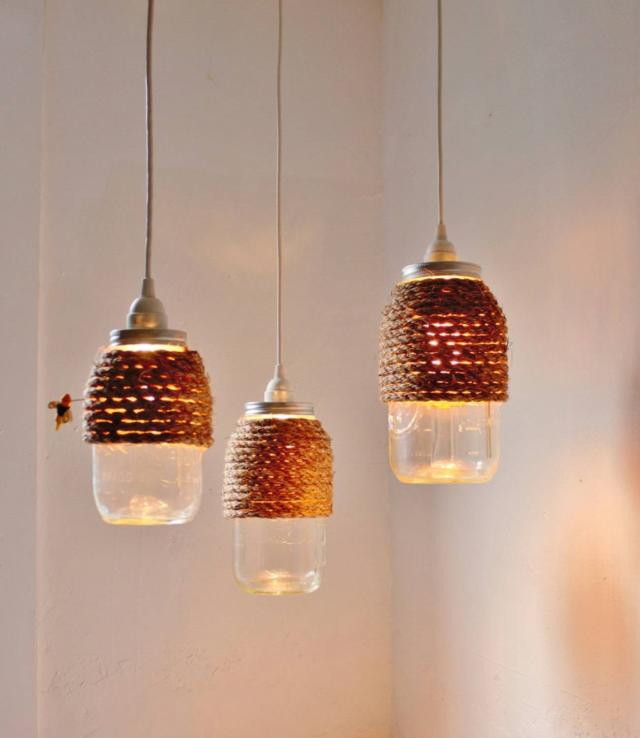 The Hive Mason Jar Pendant Lights Set Of 3 Hanging Lighting with Mason Jar Pendant Lights For Sale (Image 13 of 15)