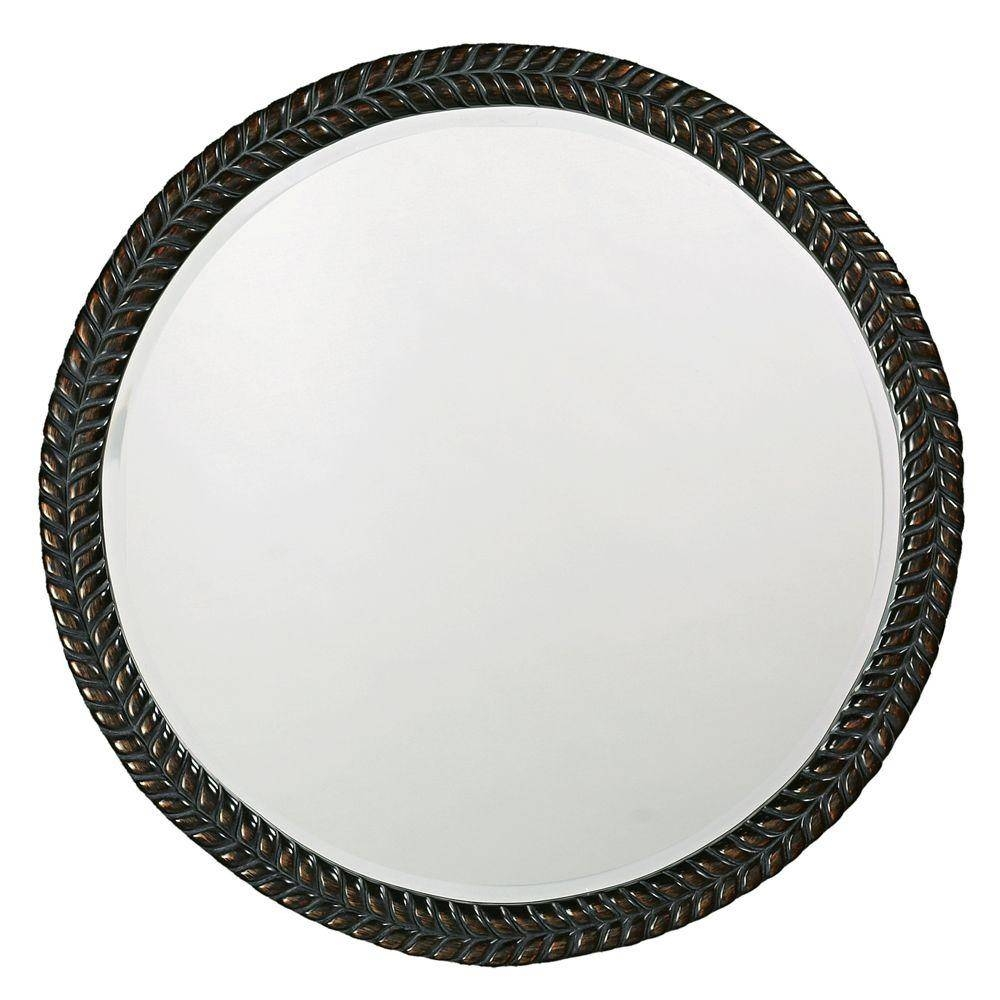 The Howard Elliott Collection 32 In. X 32 In. Round Framed Mirror with regard to Antique Black Mirrors (Image 12 of 15)