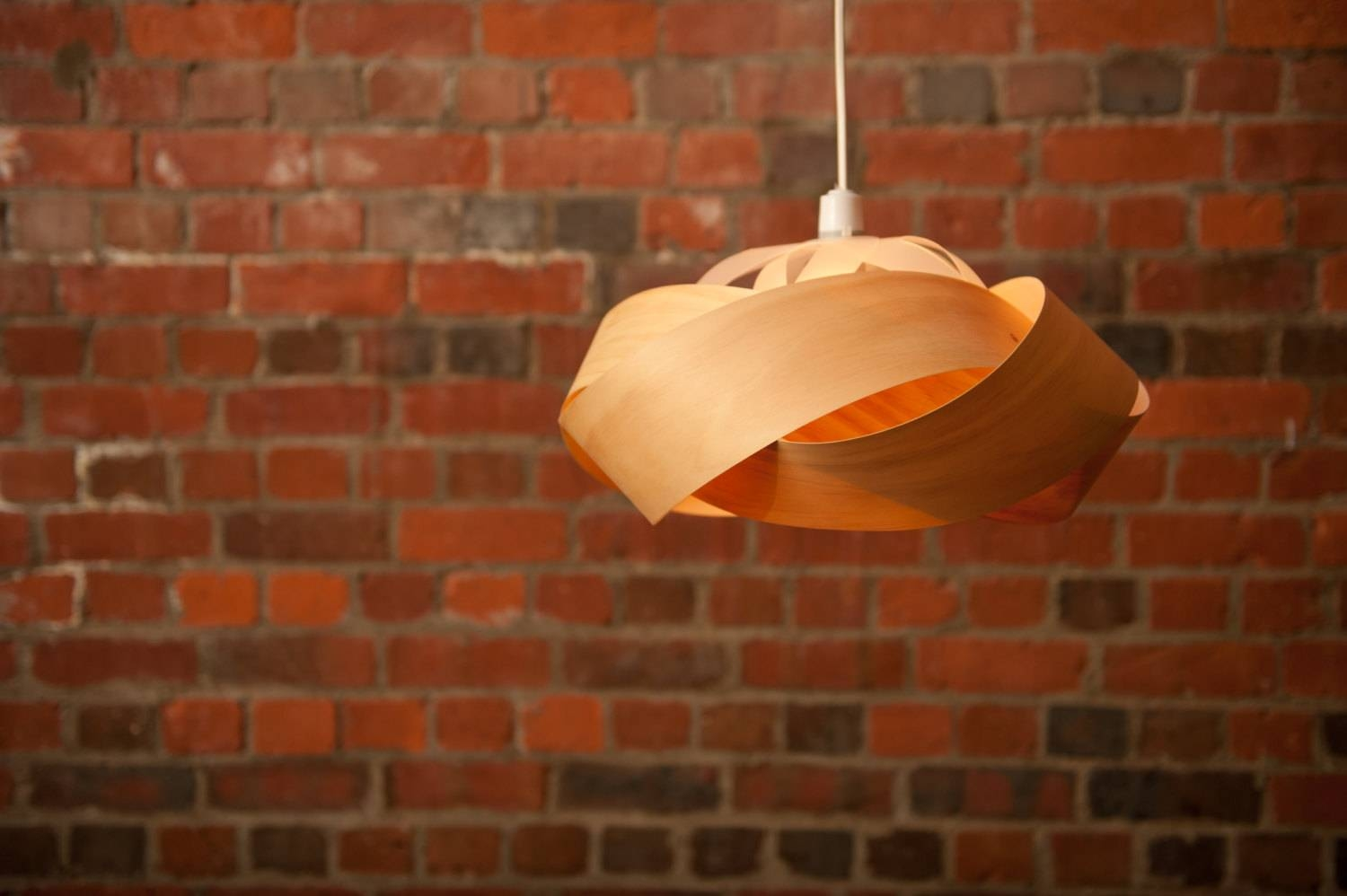The Wrap Wood Veneer Lightshade with Wood Veneer Pendants (Image 10 of 15)
