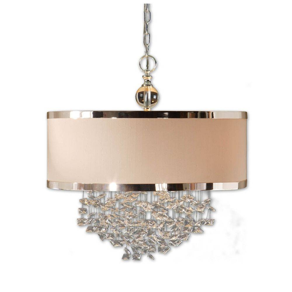Three-Light Drum Shade Pendant With Crystal Accents | 21908 inside Uttermost Pendant Lights (Image 3 of 15)