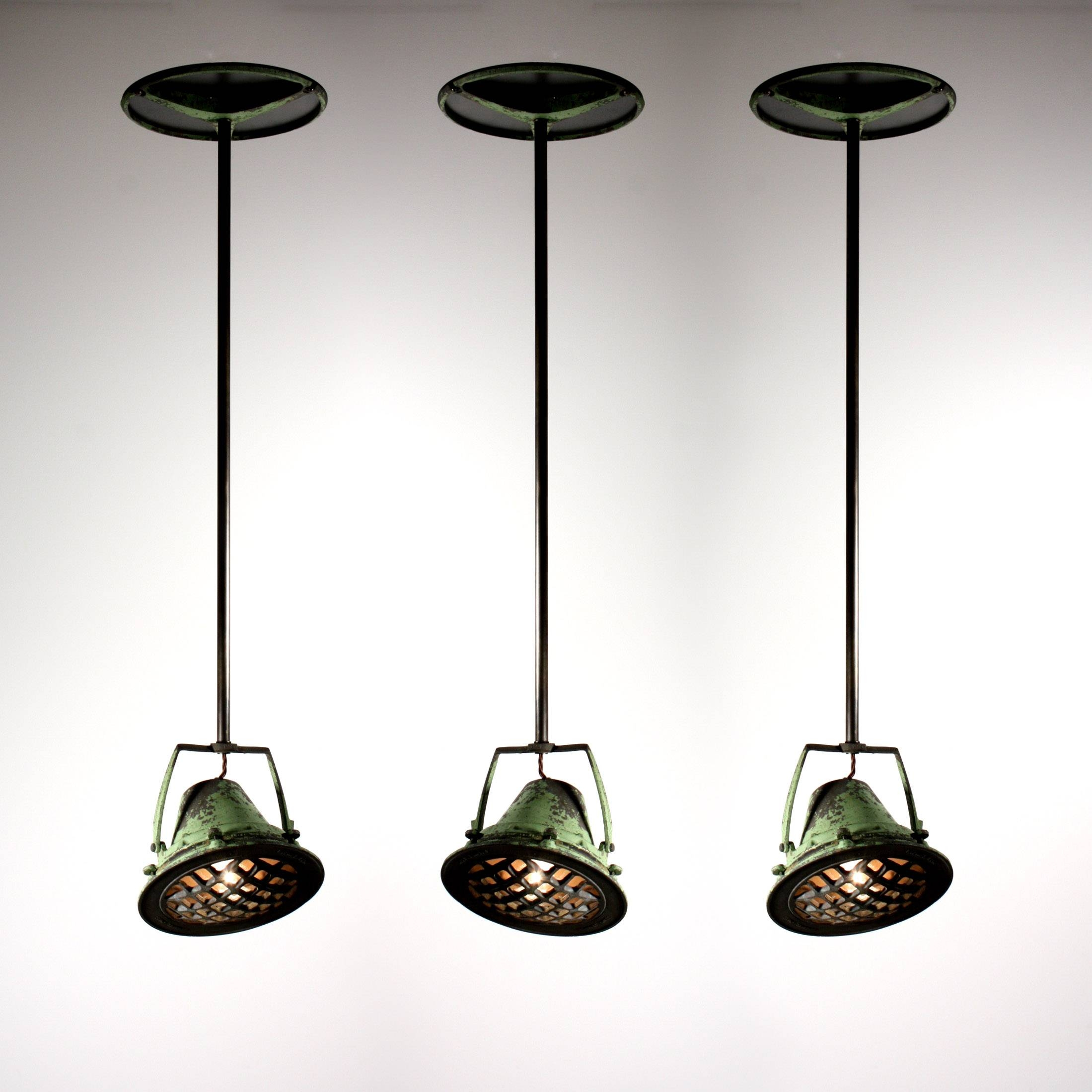 Three Matching Antique Industrial Pendant Lights From Union throughout Union Lighting Pendants (Image 13 of 15)