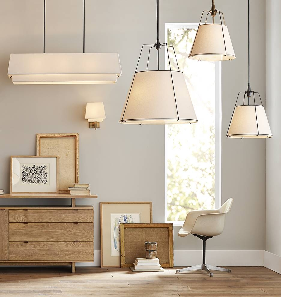Tiered Rectangle Pendant | Rejuvenation Intended For Rectangular Drum Pendant Lights (View 13 of 15)
