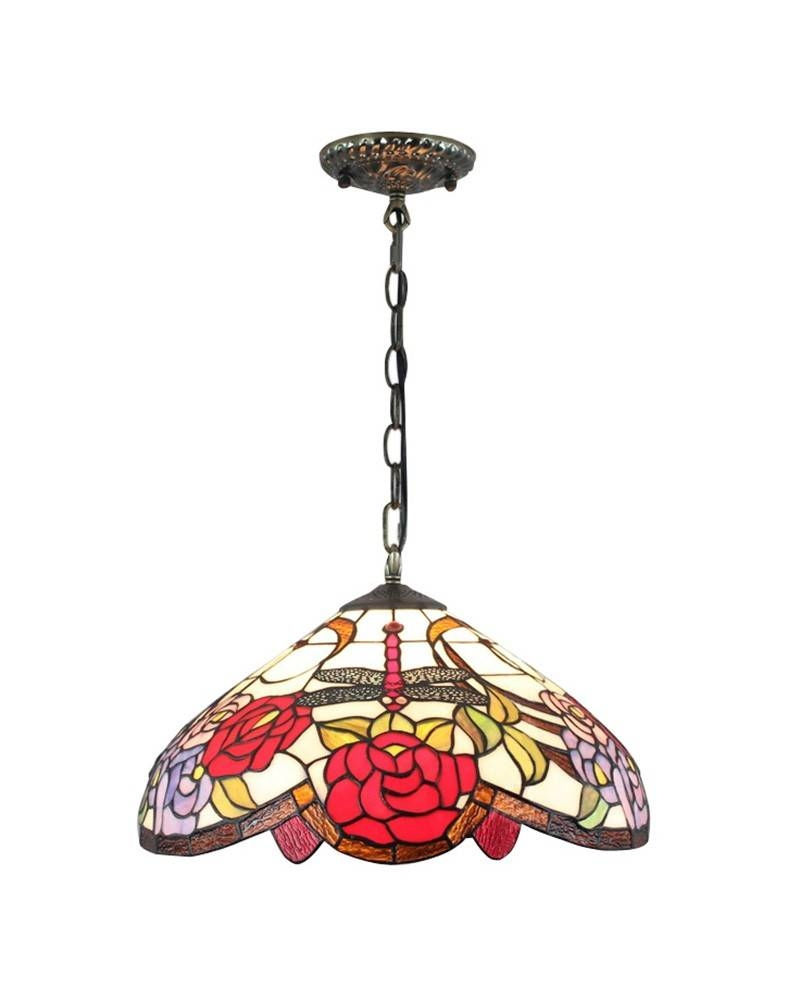 Tiffany Stained Glass Pendant Light With Roses And Dragonfly For Stained Glass Pendant Lights Patterns (View 6 of 15)