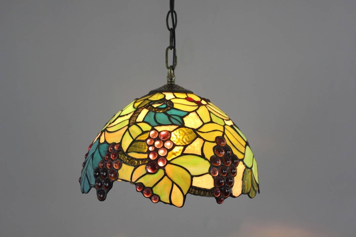 Tiffany Stained Glass Pendant Lights With Leaves And Grapes for Stained Glass Lamps Pendant Lights (Image 13 of 15)