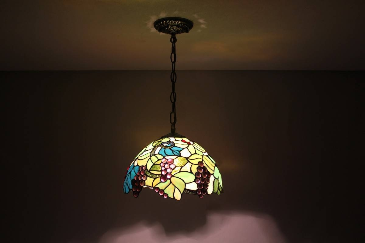 Tiffany Stained Glass Pendant Lights With Leaves And Grapes for Stained Glass Pendant Lights (Image 11 of 15)