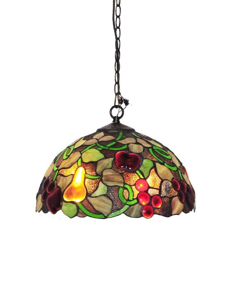 Tiffany Style Fruit Motif Pendant Light With Stained Glass Shade with Stained Glass Lamps Pendant Lights (Image 14 of 15)