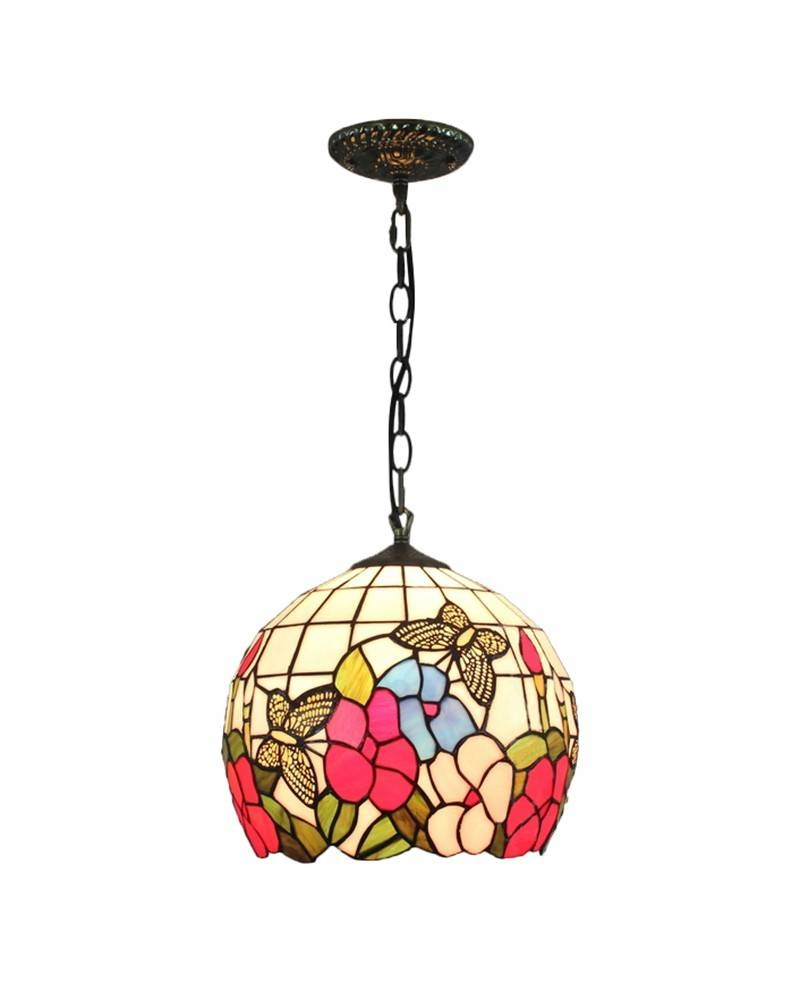 Tiffany Style Pendant Light With Flowers And Butterflies Pattern In Stained Glass Pendant Light Patterns (View 8 of 15)