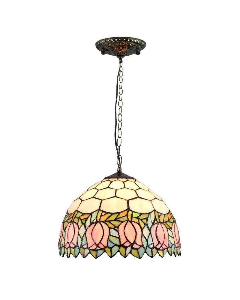 Tiffany Style Pendant Light With Lovely Pink Tulip Pattern Regarding Stained Glass Pendant Light Patterns (View 9 of 15)