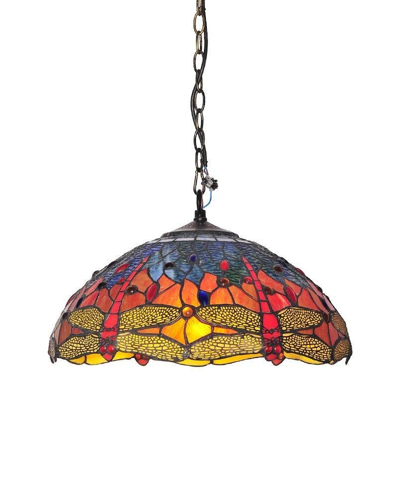Tiffany Style Stained Glass Pendant Light With Dragonfly Patterns Intended For Stained Glass Pendant Light Patterns (View 10 of 15)