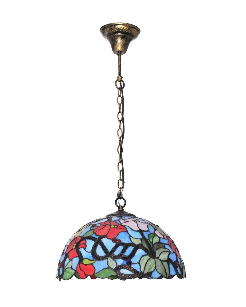 Tiffany Style Stained Glass Pendant Light With Flower Patterns In Stained Glass Pendant Lights Patterns (View 11 of 15)