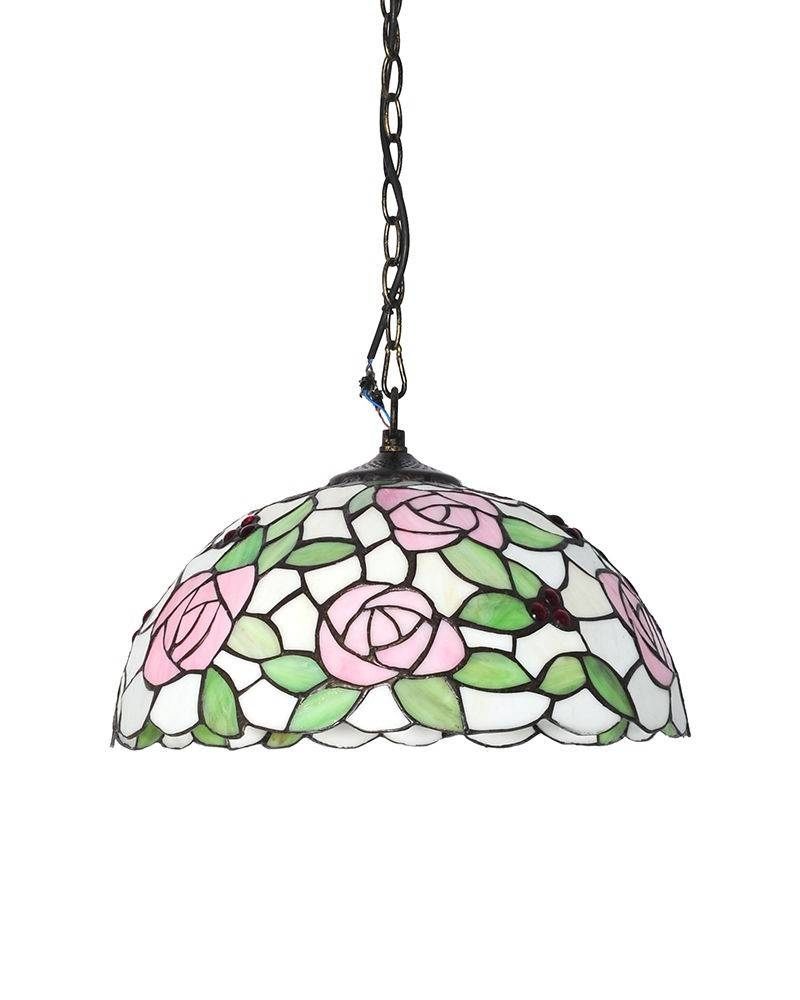 Tiffany Style Stained Glass Pendant Light With Pink Rose Patterns Within Stained Glass Pendant Light Patterns (View 14 of 15)