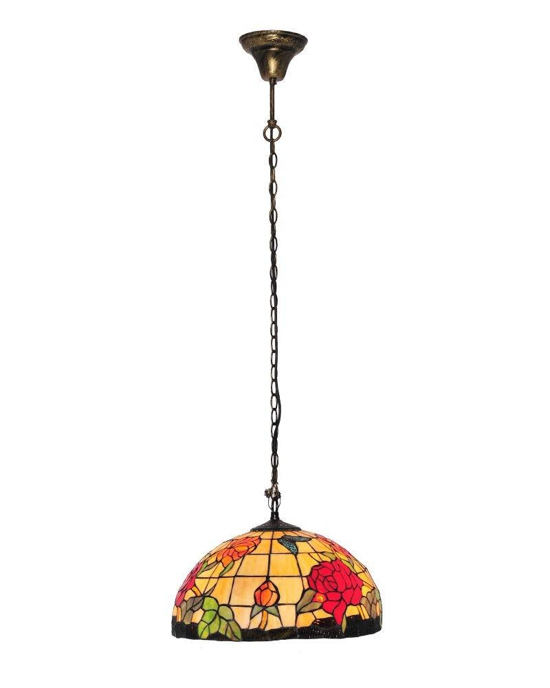 Tiffany Style Stained Glass Pendant Light With Roses And Butterfly With Regard To Stained Glass Pendant Lights (View 12 of 15)
