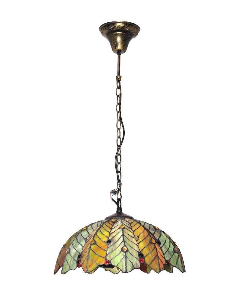 Tiffany Style Stained Glass Pendant Light With Tropic Leaf With Regard To Stained Glass Pendant Lights (View 13 of 15)