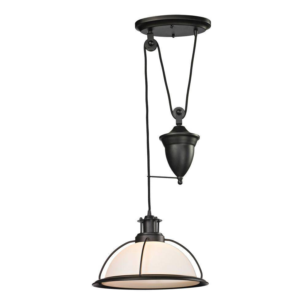 Titan Lighting Polo 1-Light Oil-Rubbed Bronze Pull-Down Pendant-Tn for Pull Down Pendant Lights (Image 15 of 15)
