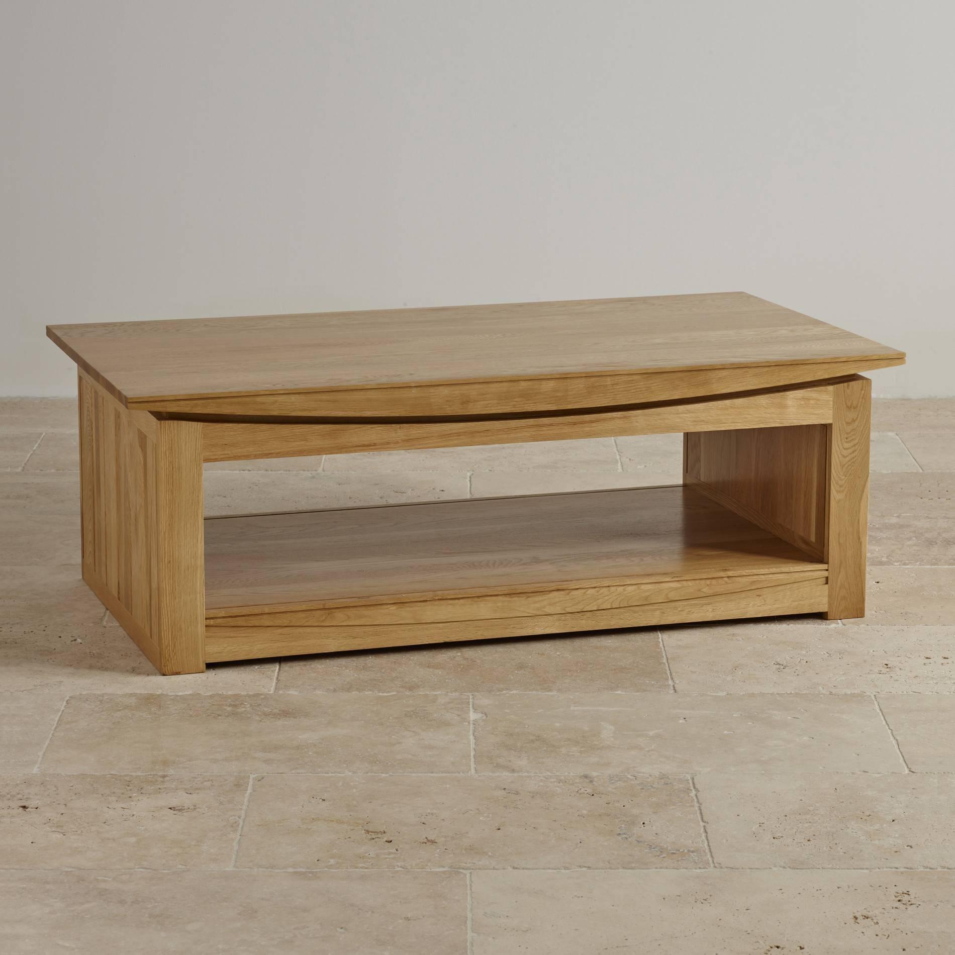 Tokyo Natural Solid Oak Large Coffee Tableoak Furniture Land inside Large Oak Coffee Tables (Image 15 of 15)