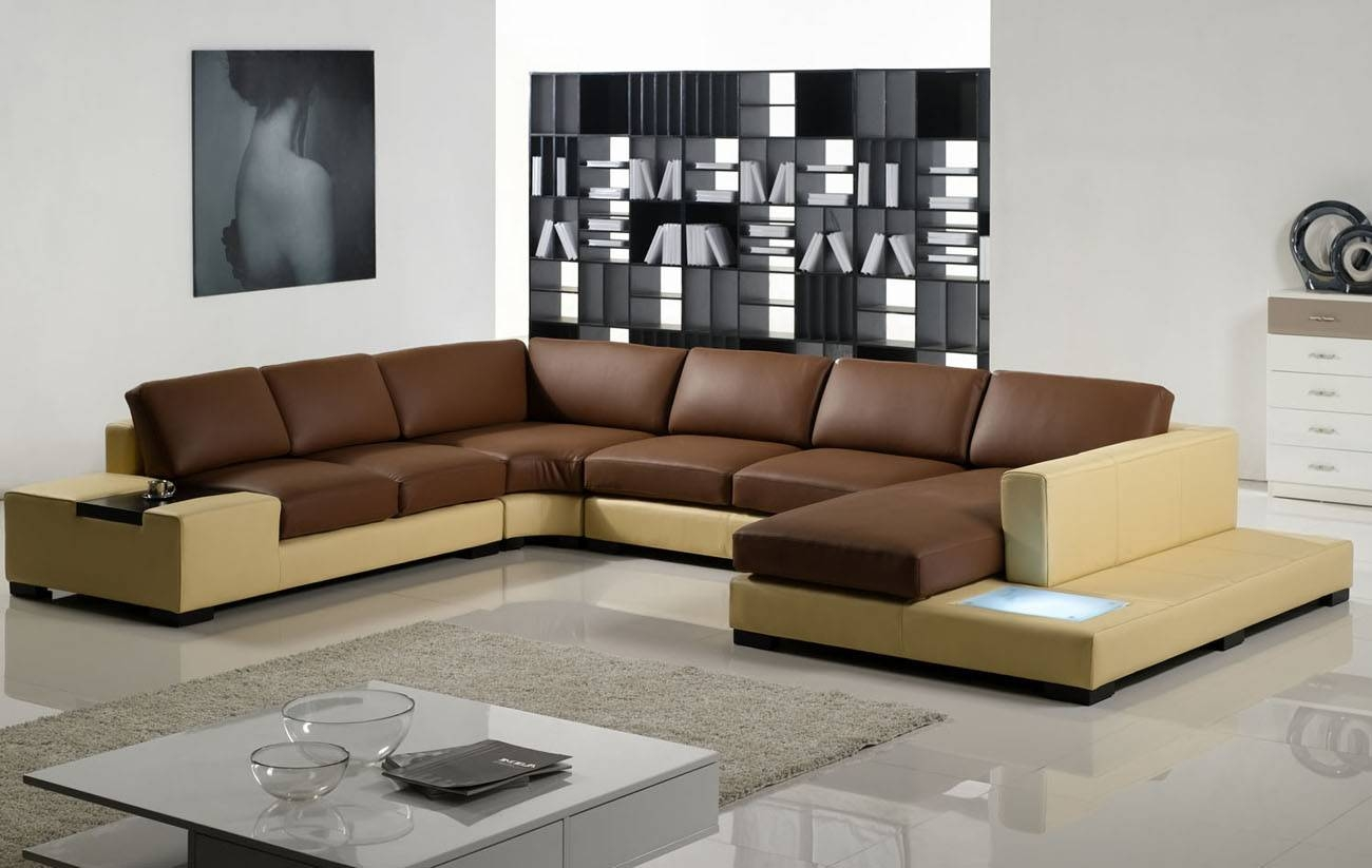 Tosh Furniture Modern Yellow And Brown Leather Sectional Sofa For Tosh Sectional Sofas (View 6 of 15)