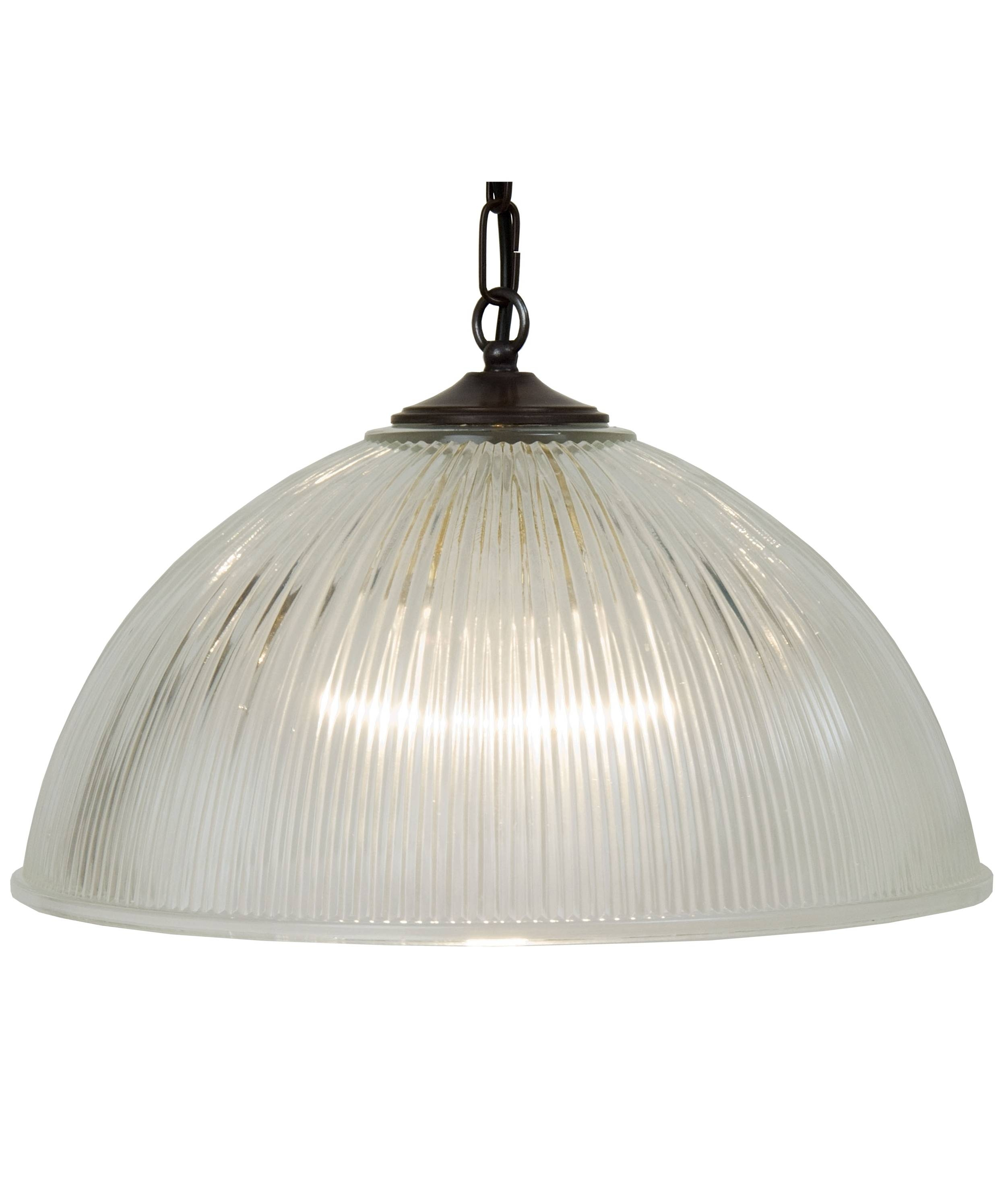 Traditional Ribbed Glass Ceiling Light On Chain Suspension In 2 Sizes within Large Dome Pendant Lights (Image 14 of 15)